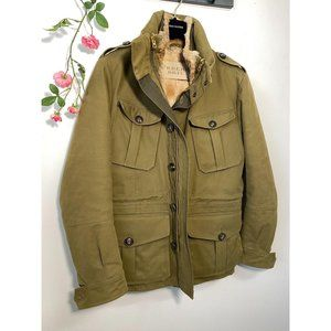 Burberry Men's Brushed Field Jacket w/ Rabbit Fur